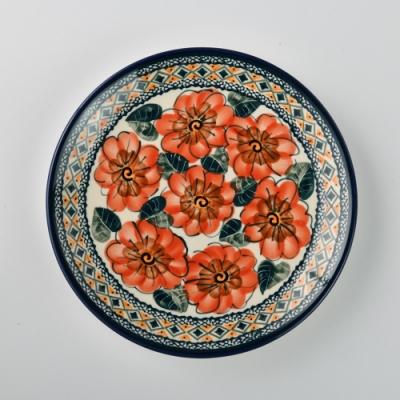 波蘭陶 艷夏扶桑系列 淺底圓形餐盤 19cm 波蘭手工製