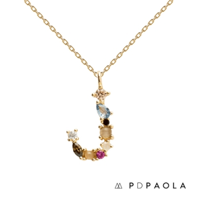 PD PAOLA 西班牙輕奢時尚品牌 字母J 彩鑽寶石項鍊