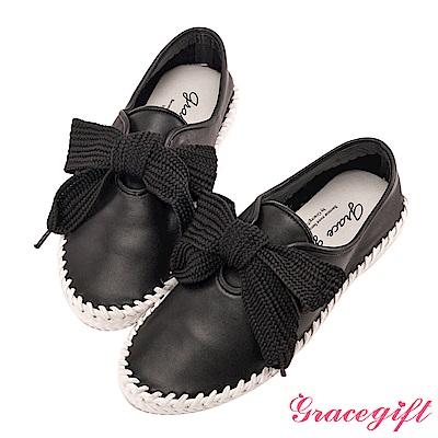 Grace gift-全真皮寬版織帶麻繩休閒鞋 黑