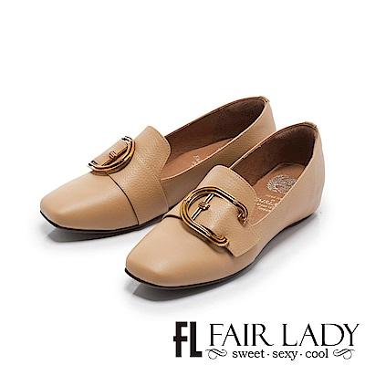 Fair Lady Soft懶骨頭 俐落有型金屬扣飾方頭平底鞋 卡其