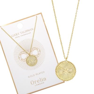 Orelia英國品牌 圓牌無限造型金色項鍊