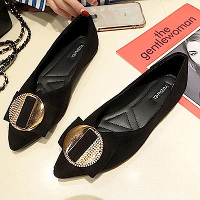 韓國KW美鞋館 女神同款舒適流線美身平底鞋-黑色