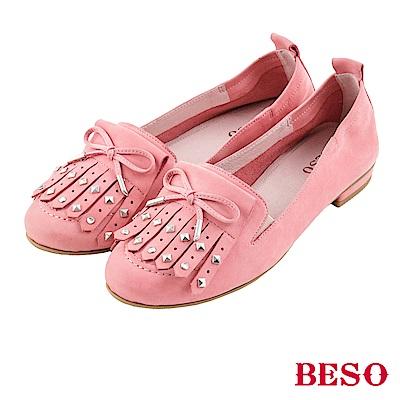 BESO 率性氛圍 流蘇鉚釘蝴蝶結樂福鞋~粉紅
