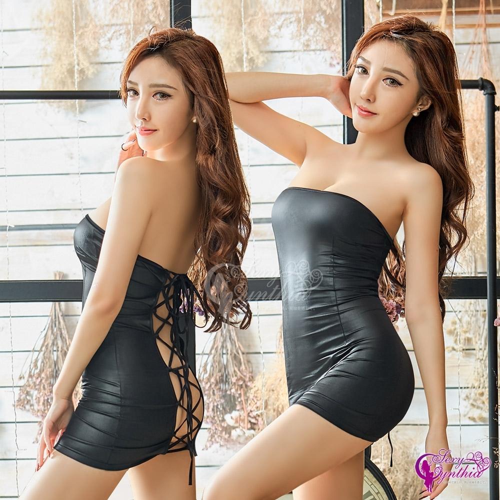 Sexy Cynthia 角色扮演 黑色仿皮平口洋裝辣妹角色扮演服二件組-黑F