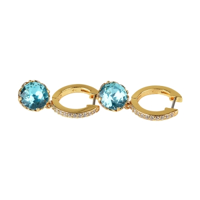 kate spade That Sparkle壓印LOGO鑽鑲飾穿式耳環(金x藍)