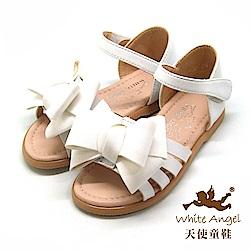 天使童鞋 優雅大蝴蝶結涼鞋(中-大童)D945-白