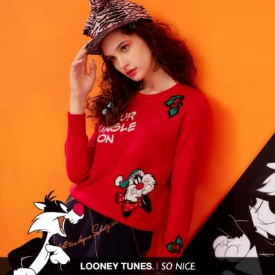 SO NICE亮麗聖誕傻大貓針織上衣