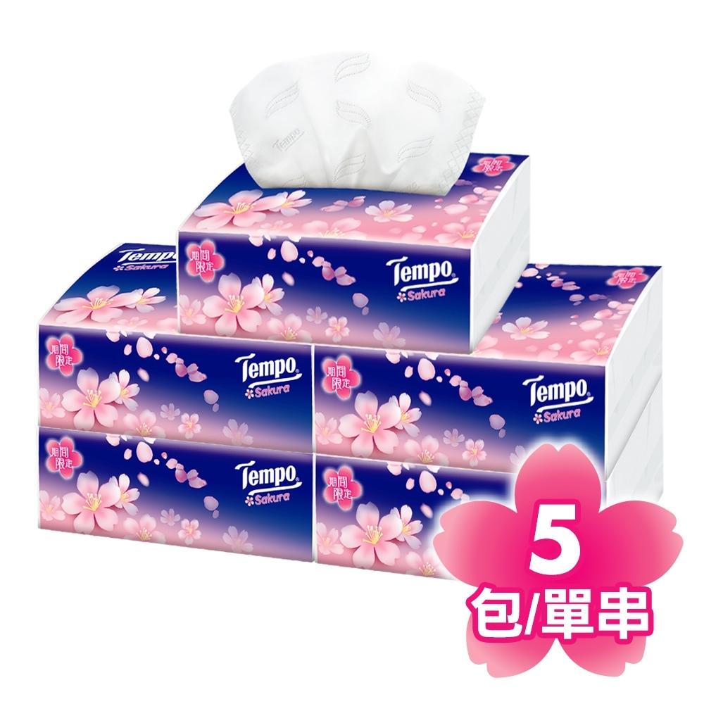 Tempo四層輕巧包面紙-櫻花(90抽X5包/串)