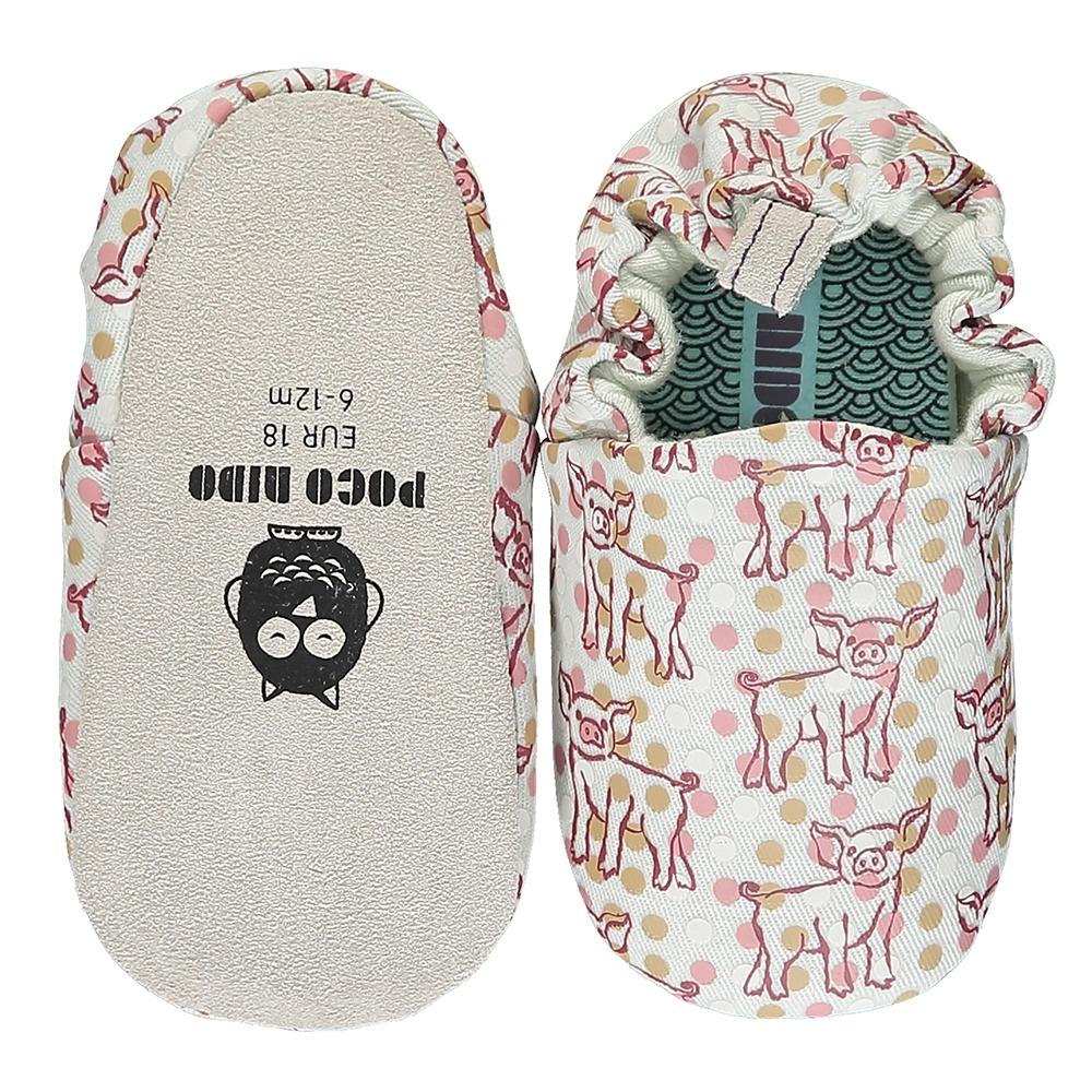 英國 POCONIDO 手工嬰兒鞋 (小豬寶寶-淺灰)