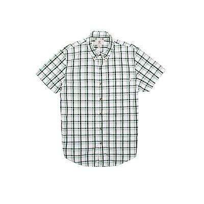 Timberland 男款綠黑白格紋修身短袖襯衫 | A1N8KE23