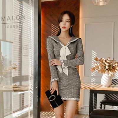 IMStyle 時尚設計弧型翻領連身洋裝(灰色)