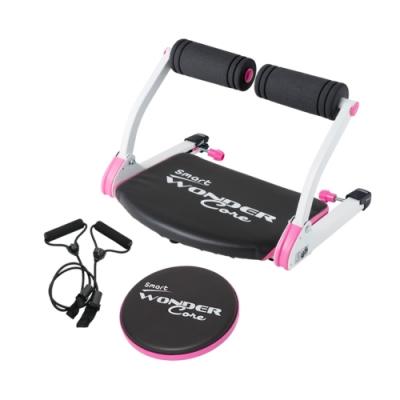 Wonder Core Smart 全能輕巧健身機「愛戀粉」三件組(含拉力繩+扭腰盤-粉)