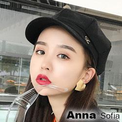 【滿額再75折】AnnaSofia 金屬L飾字波紋布 報童帽貝蕾帽(黑系)