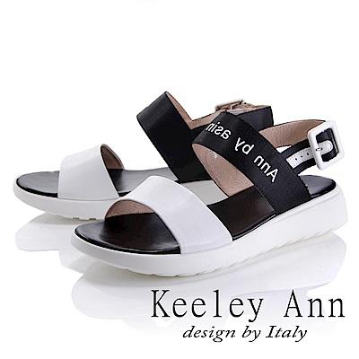 Keeley Ann 韓式風潮~雙色寬帶英文字樣平底涼鞋(白色-Ann)