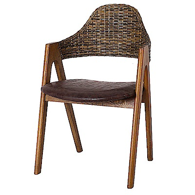 AS-蒂娜仿古棕色皮面餐椅-52x52x80cm