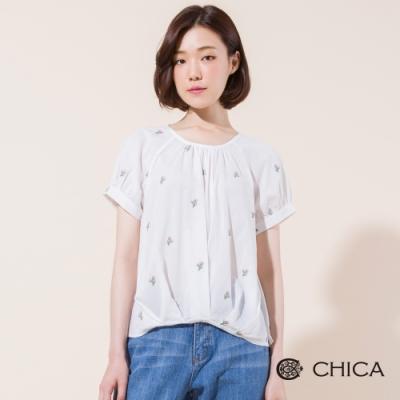 CHICA 夏日徜徉刺繡仙人掌上衣(2色)
