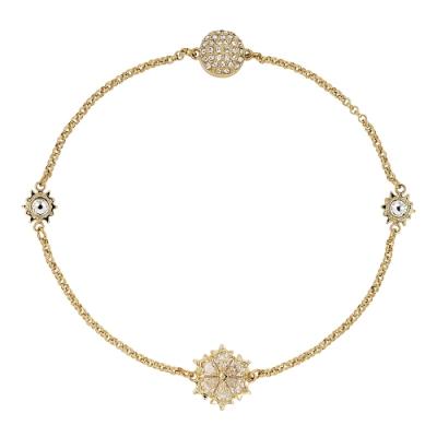 SWAROVSKI 施華洛世奇 REMIX璀璨水晶雪花造型金色手環手鍊