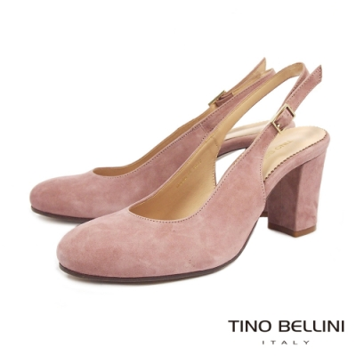 Tino Bellini義大利進口優雅牛麂皮後拉帶高跟鞋_粉