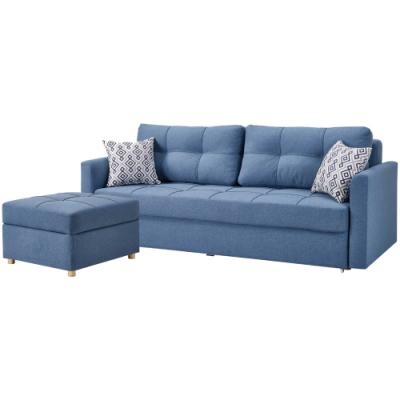 文創集 貝多L型收納沙發/沙發床(純粹木語+三人+椅凳)-216x158x88cm免組