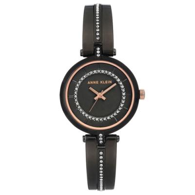Anne Klein 華爾滋圓舞曲華麗施華洛世奇水鑽腕錶-黑x30mm