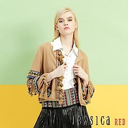 JESSICA RED - 民族風繽紛流蘇織帶澎袖造型外套