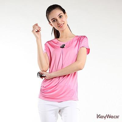KeyWear奇威名品    繁複絲綢手工珠飾針織上衣-粉紅色