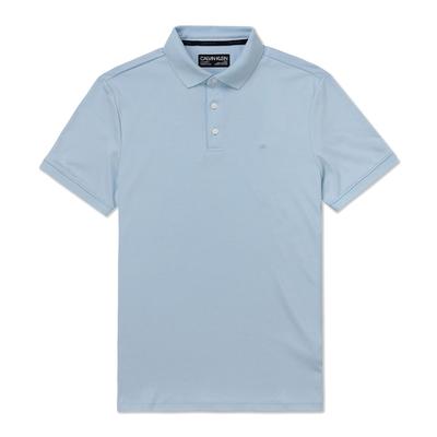 Calvin Klein 經典CK標誌低調舒適短袖Polo衫-水藍色