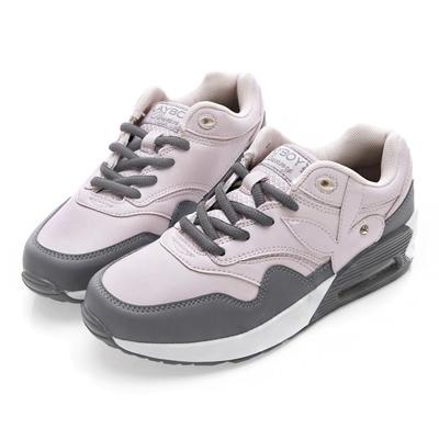 PLAYBOY活氧女孩 仿皮拼接氣墊運動鞋-粉灰