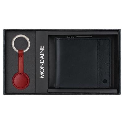 MONDAINE 瑞士國鐵 八卡零錢包短夾(黑)+紅秒針鑰匙圈禮盒