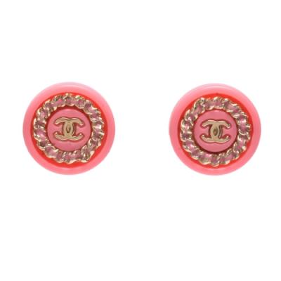 CHANEL 經典雙C LOGO鍊帶造型圓形穿式耳環(粉X金)