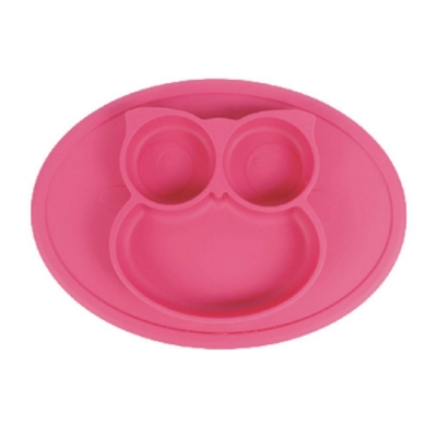 貓頭鷹造型矽膠防滑餐盤