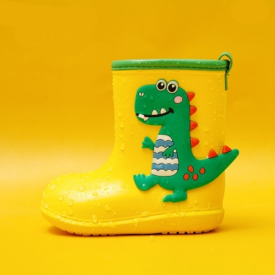 Cheerful Mario 兒童雨鞋-黃色恐龍