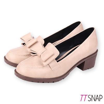 TTSNAP訂製款-可愛雙層蝴蝶結中跟紳士鞋 米