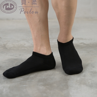 貝柔機能抗菌萊卡除臭襪-船型氣墊襪_男黑色