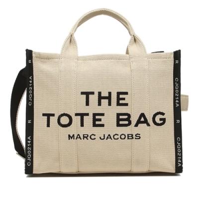 MARC JACOBS Traveler Tote 字母刺繡滾邊帆布兩用托特包(中款/淺卡其)