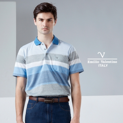 Emilio Valentino 范倫鐵諾 都會時尚POLO衫_藍/灰(15-9V2916)