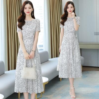 白色優雅綁腰繫帶花紋洋裝S-3XL-REKO
