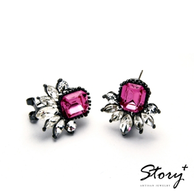 STORY故事銀飾-氣質時尚耳環-Dazzling晶鋯耳環(桃紅)