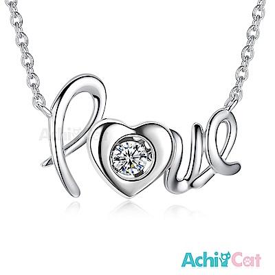 AchiCat 925純銀 跳舞的項鍊 Love 簡單愛 跳舞石(銀色)