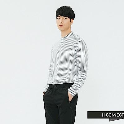 H:CONNECT 韓國品牌 男裝-直條紋圓領襯衫-藍