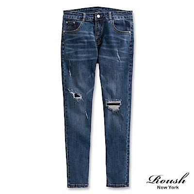 Roush 破壞補丁刷痕窄管牛仔褲