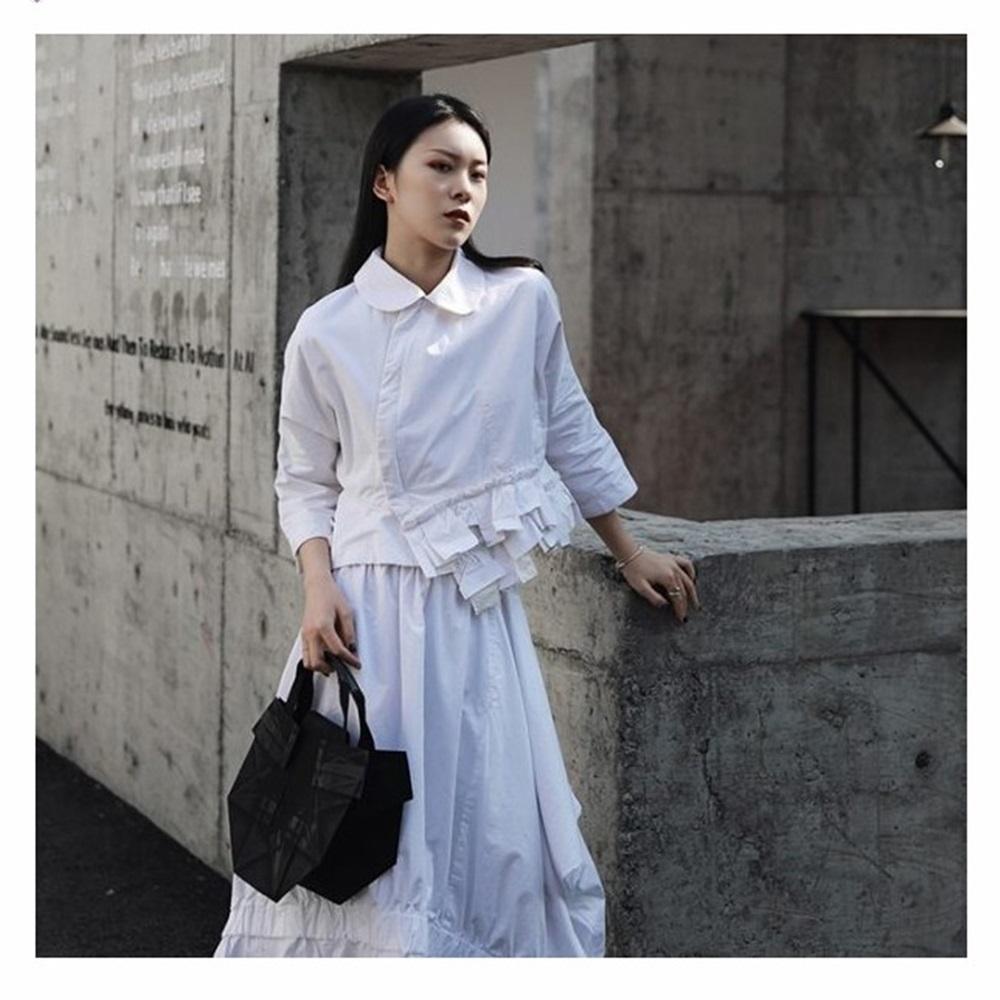 設計所在Style-新日系美學娃娃領七分袖短版襯衫