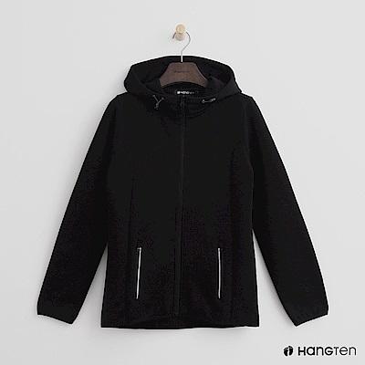 Hang Ten - 女裝 - 休閒修身連帽外套-黑