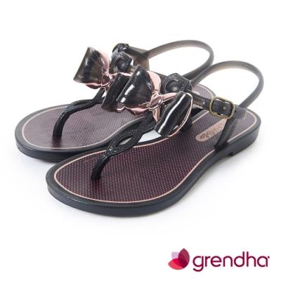 Grendha 金屬風夢幻蝴蝶結平底涼鞋-女童-黑色