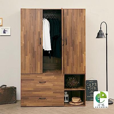澄境 工業風上下分離型三門收納衣櫃(120x50x181cm)-DIY