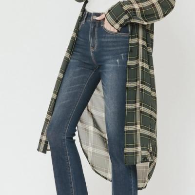 H:CONNECT 韓國品牌 女裝 - 輕薄格紋長板襯衫-綠(快)