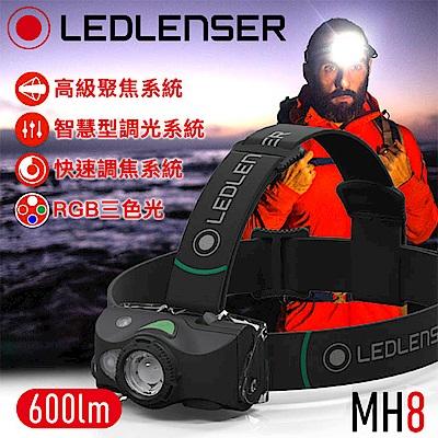 德國 Ledlenser MH8 戶外專用充電式伸縮調焦頭燈 (黑)
