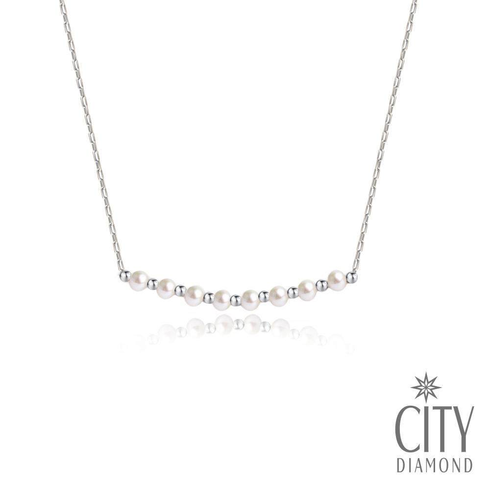 City Diamond引雅 【手作設計系列 】天然珍珠微笑隔珠項鍊