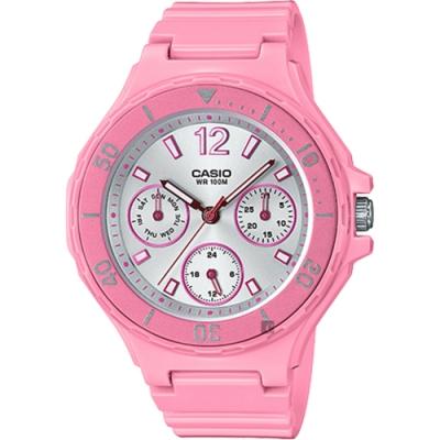 CASIO 卡西歐 迷你運動風日曆女錶-粉紅(LRW-250H-4A3)