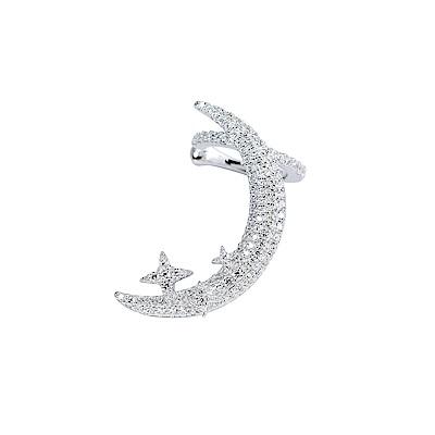 apm MONACO法國精品珠寶 閃耀銀色一千零一夜月亮星芒夾式x耳針式單邊耳環